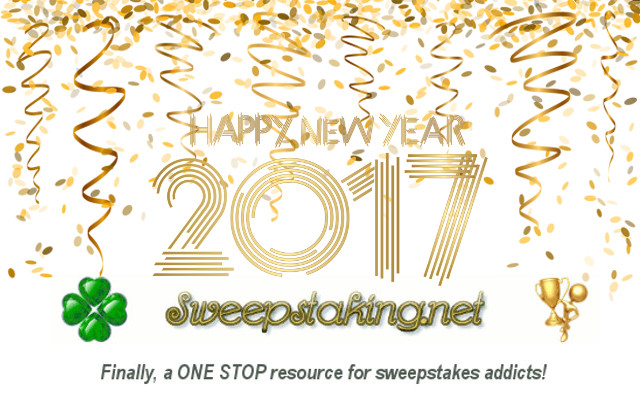 Sweepstaking.net wants to wish everyone a very happy New Year and it is our wish that all of you have the luckiest year EVER in 2017!