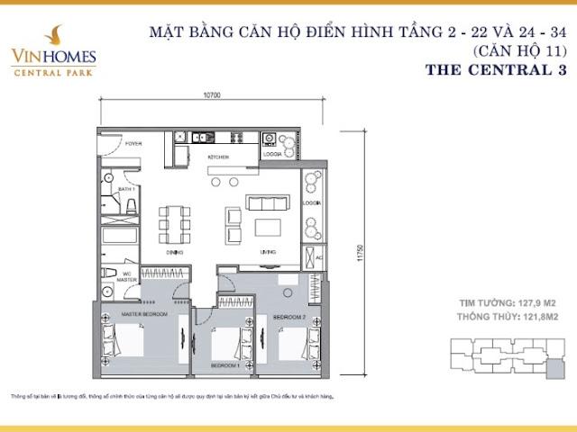 Mặt bằng căn hộ Central 3 - Vinhomes Central Park