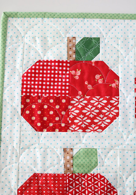 Scrappy Apples mini quilt by Andy of A Bright Corner