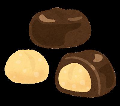 ナッツ入りチョコレートのイラスト(マカダミアナッツ)