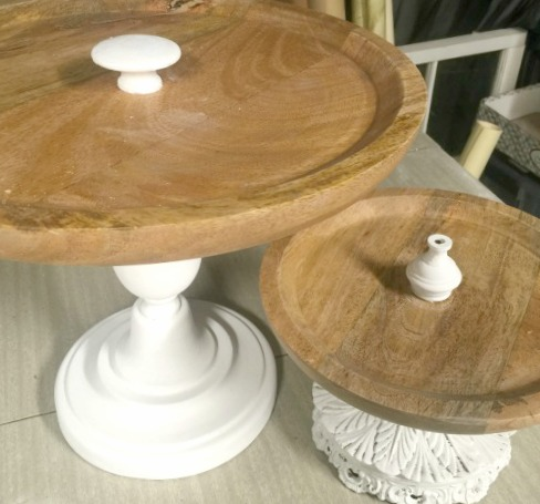 How to Make Wooden Pedestal Dishes from Lamp Parts www.homeroad.net