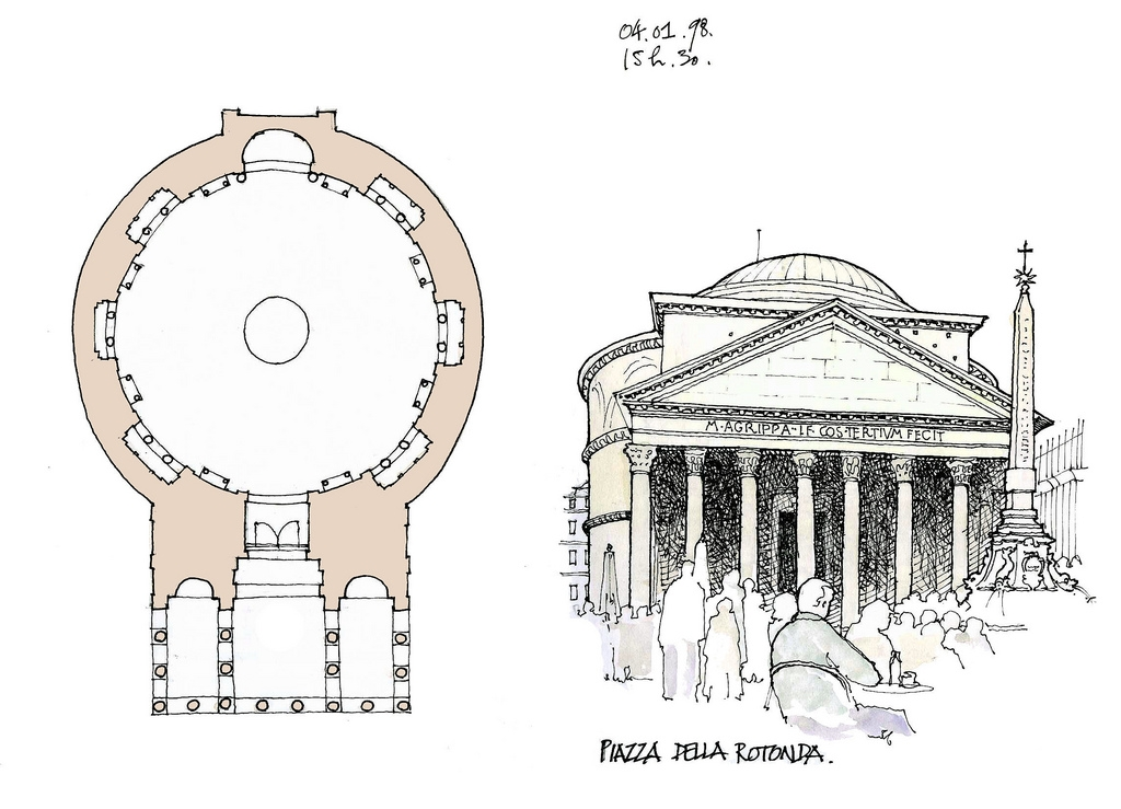 07-Rome-Pantheon-Gérard-Michel-Italian-Urban-Sketches-to-Capture-Architecture-in-a-moment-in-Time-www-designstack-co