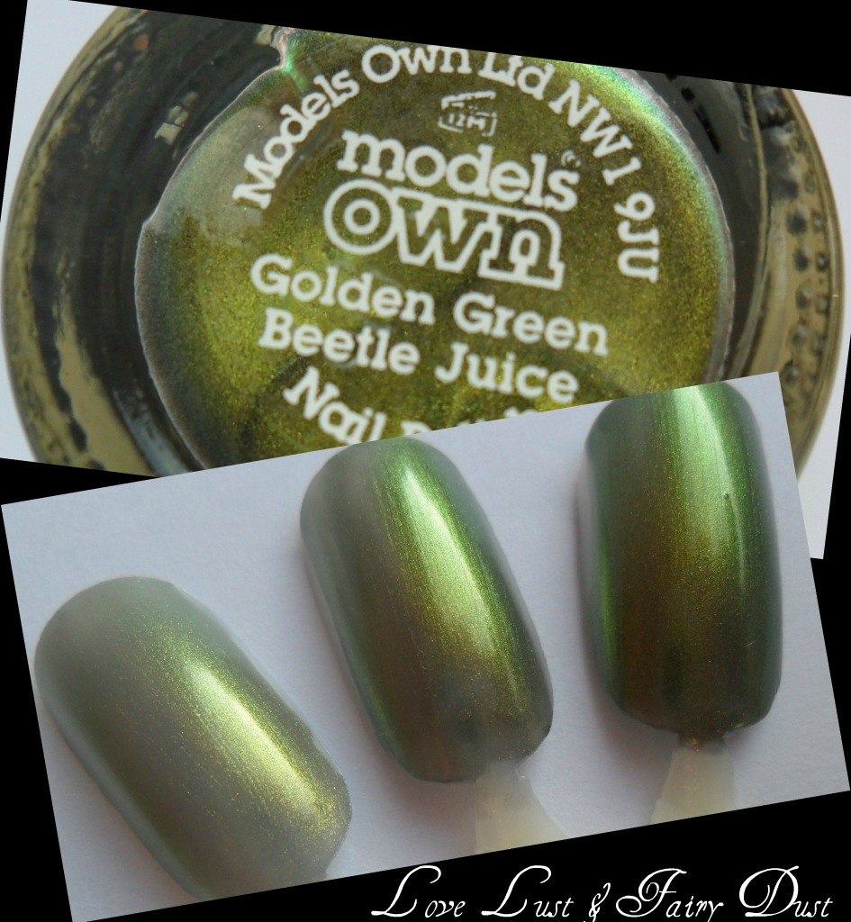 models own beetle juice golden green swatch