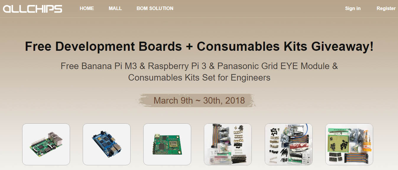 Free Banana Pi M3 & Raspberry Pi 3 & Panasonic Grid EYE Module & Consumables Kits Set for Engineers