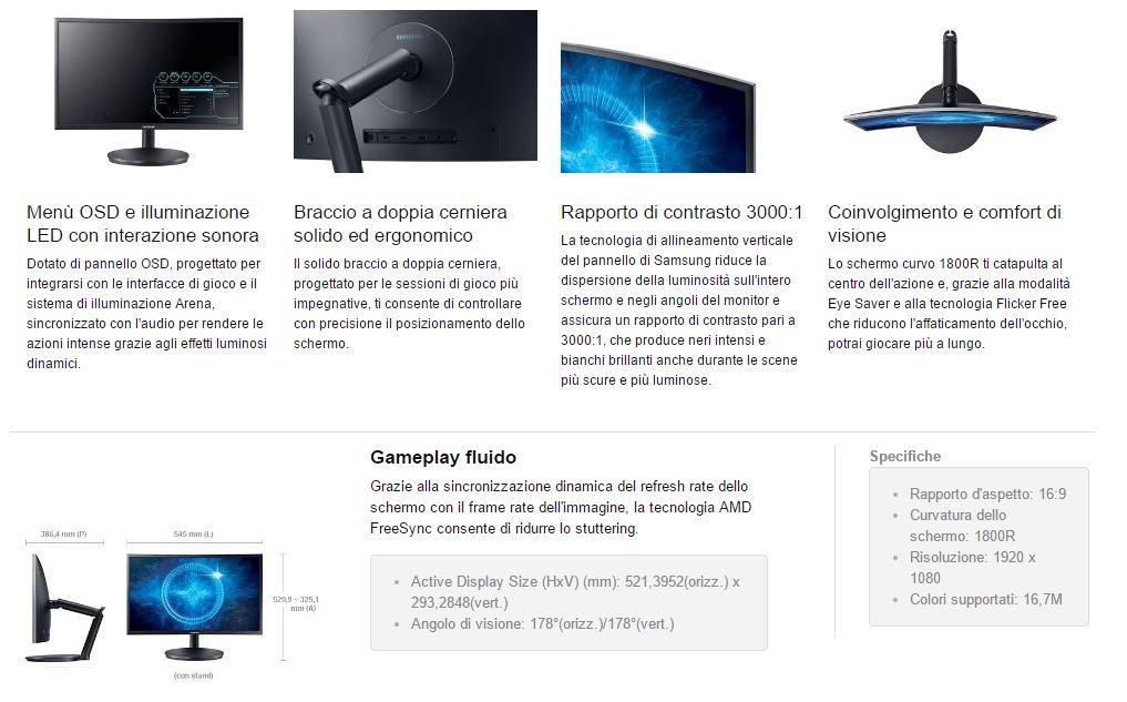 caratteristiche monitor Samsung C24FG70 24 pollici videogiochi