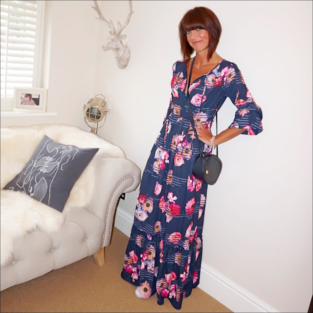 My midlife fashion, preen for debenhams floral maxi dress, iris and ink leather shoulder bag, golden goose superstar low top leather trainers