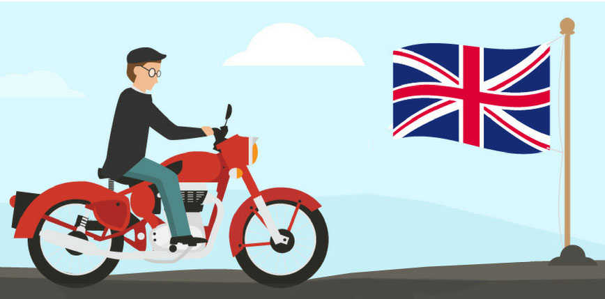 Cartoon of man riding a Royal Enfield and British flag on pole.