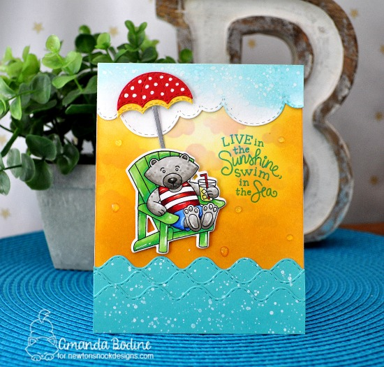 Bear at the Beach Card by Amanda Bodine | Winston's Lake House Stamp Set and Umbrella Pals and Border Dies by Newton's Nook Designs #newtonsnook #handmade