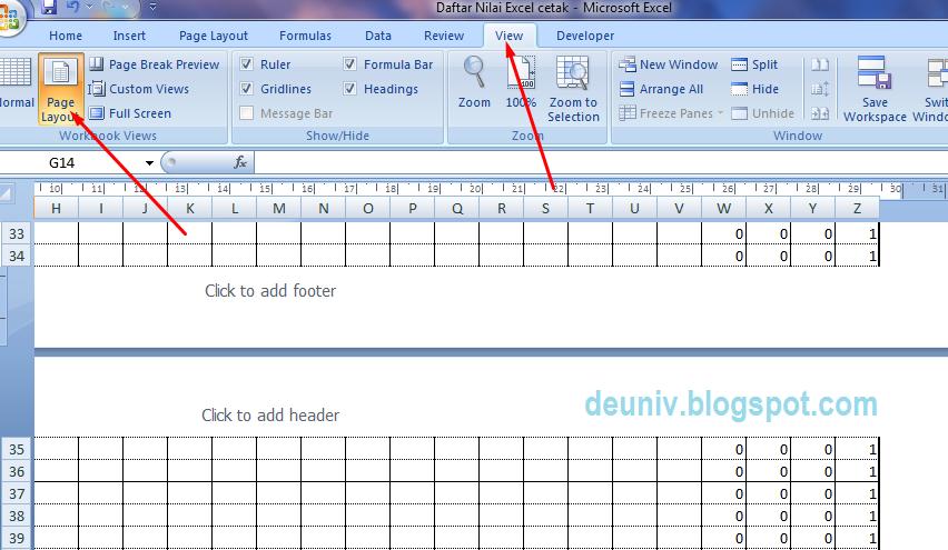 tampilan view page layout pada excel