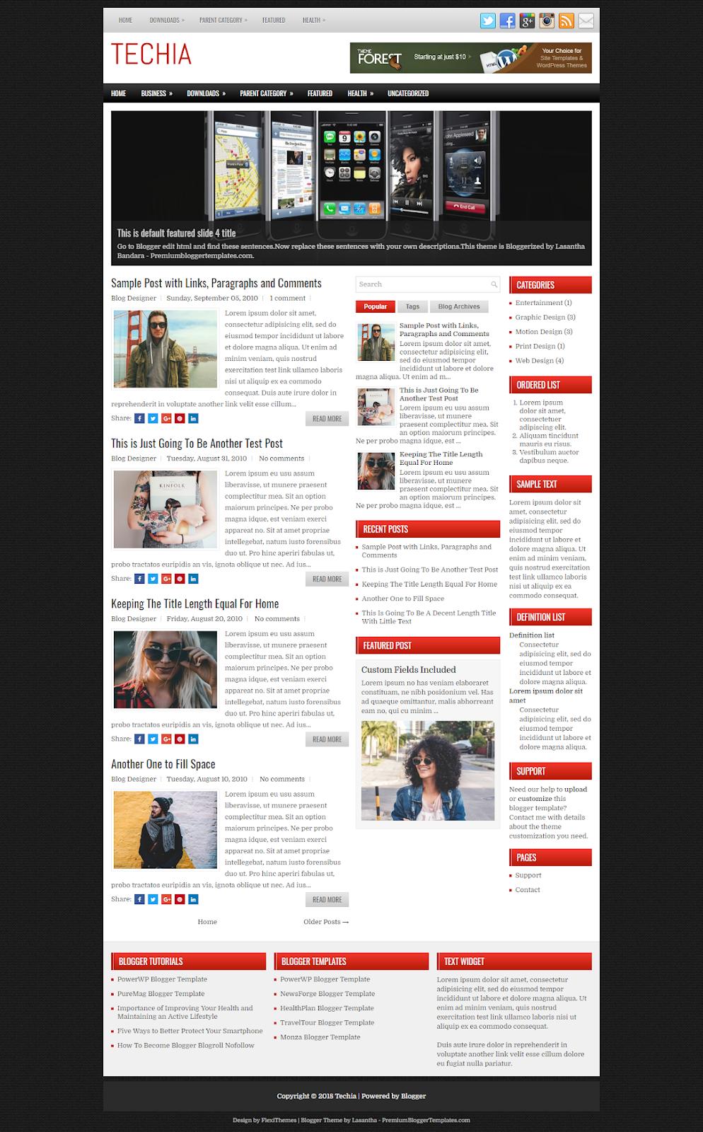 Techia Blogger Theme - Premium Free Download - Free Blogger Themes ...