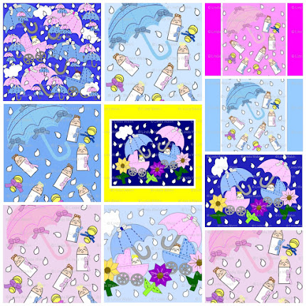 Babies Splashing In The Rain Custom Fabric Collection
