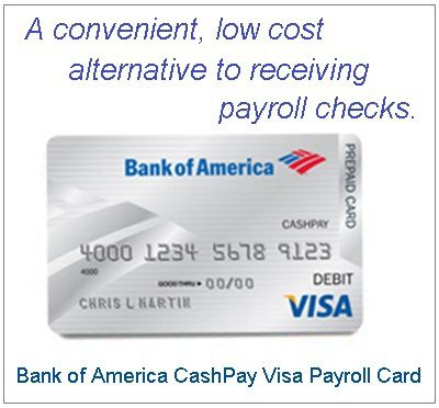 cash pay bank of america cashpay payday loans available online - Visa Payroll Card