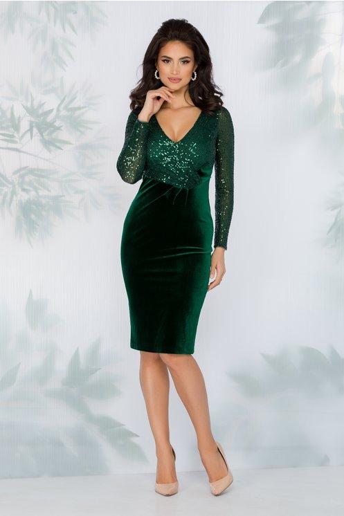 Rochie eleganta de lux de seara verde din catifea cu bustul si manecile din paiete