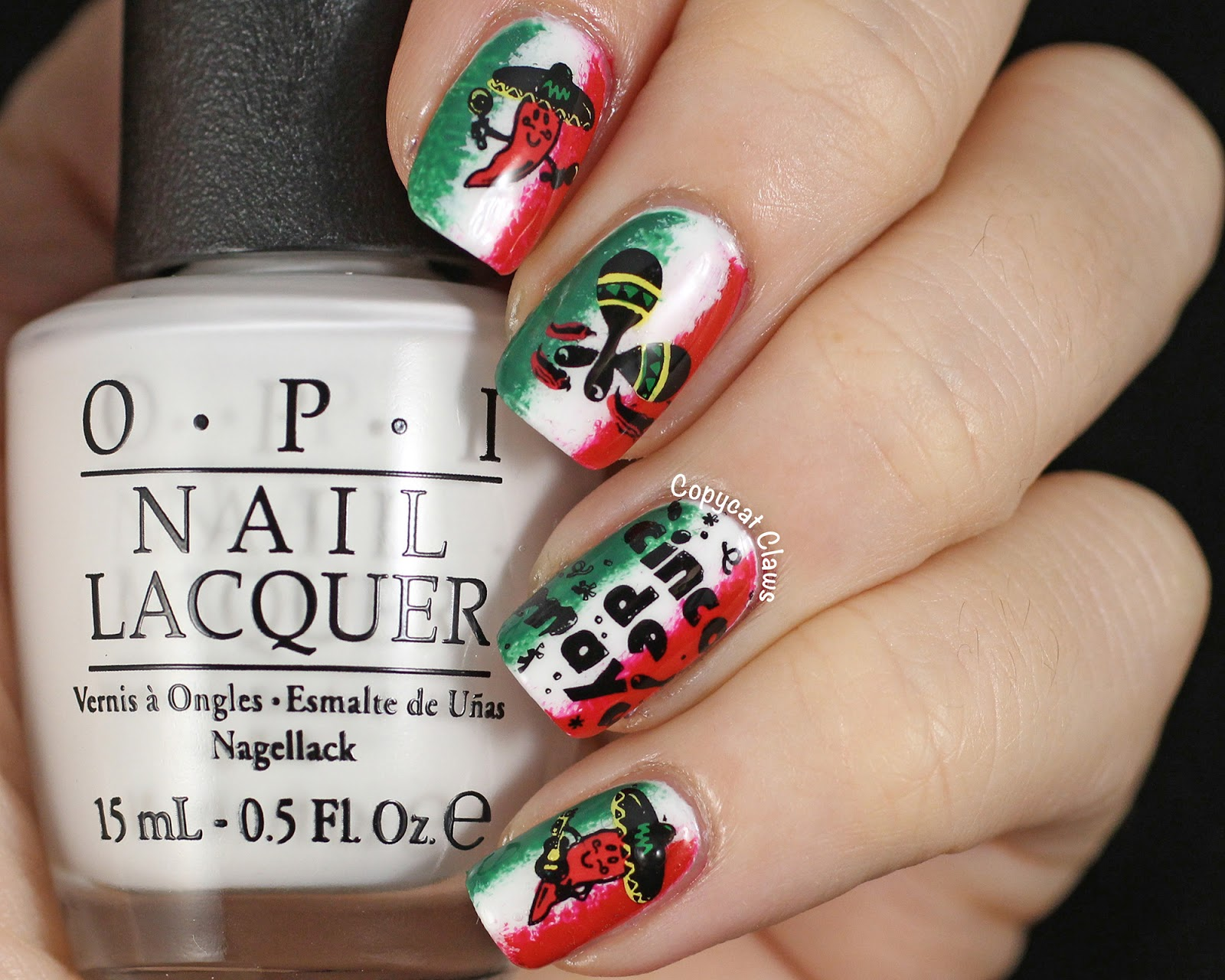 I Then Sponged On A Bit Of Red China Glaze With Love And Green Opi Jade Is The New Black To Represent Mexico Flag