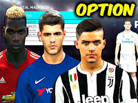 Option File PES 2018 terbaru update 18/9/2017