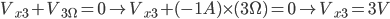 V_ {x3} + V_ {3 \ Omega} = 0 \ à V_ {x3} + (- 1A) \ times (3 \ Omega) = 0 \ à V_ {x3} = 3V