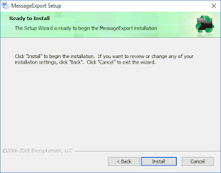 "Screen image displays, ""The setup wizard is ready to begin the MessageExport Installation."""