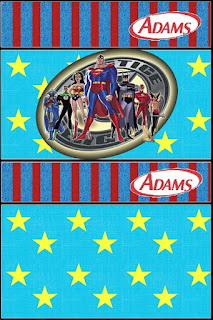 Justice League, Free Printable Gum Adams Labels.
