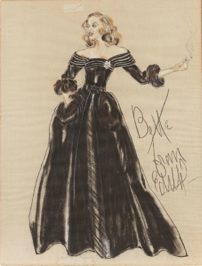 Edith Head Costume Sketch for Bette Davis in 1950's All About Eve