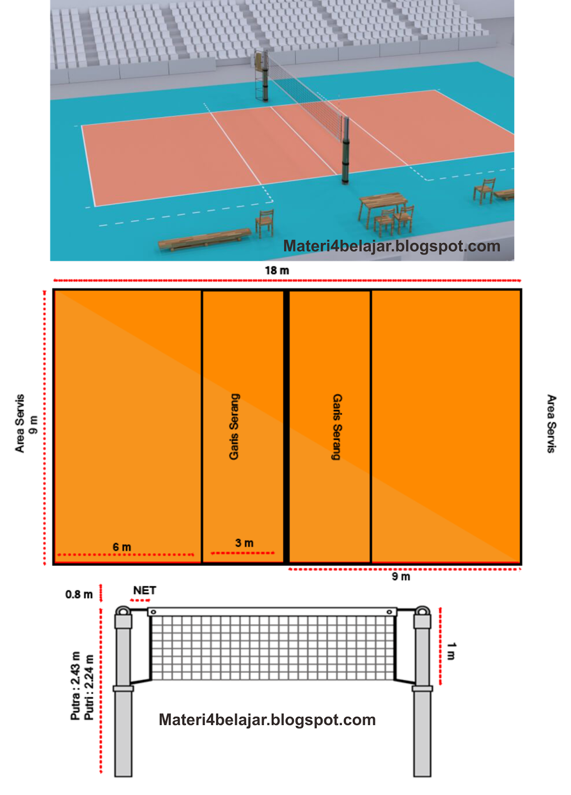Gambar Dan Ukuran Lapangan Bola Voli Standar Nasional Internasional Terbaru