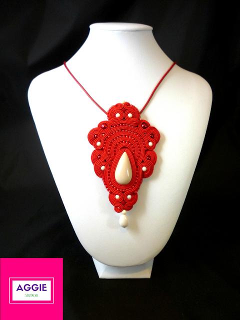czerwony wisior sutasz red soutache pendant