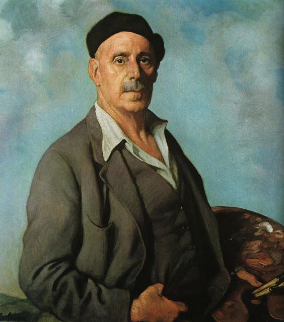 Autorretrato con fondo azul (Ignacio Zuloaga, 1942)