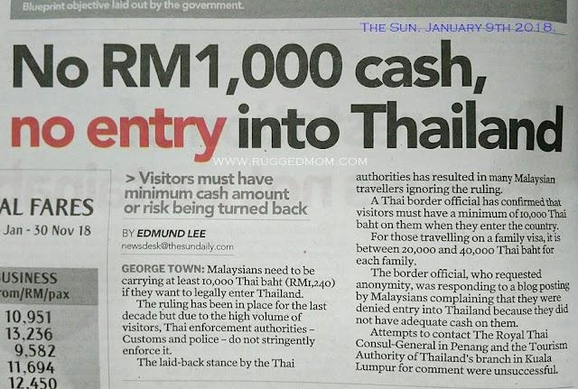 Kemasukan ke Thailand | Cukupkah wang anda?