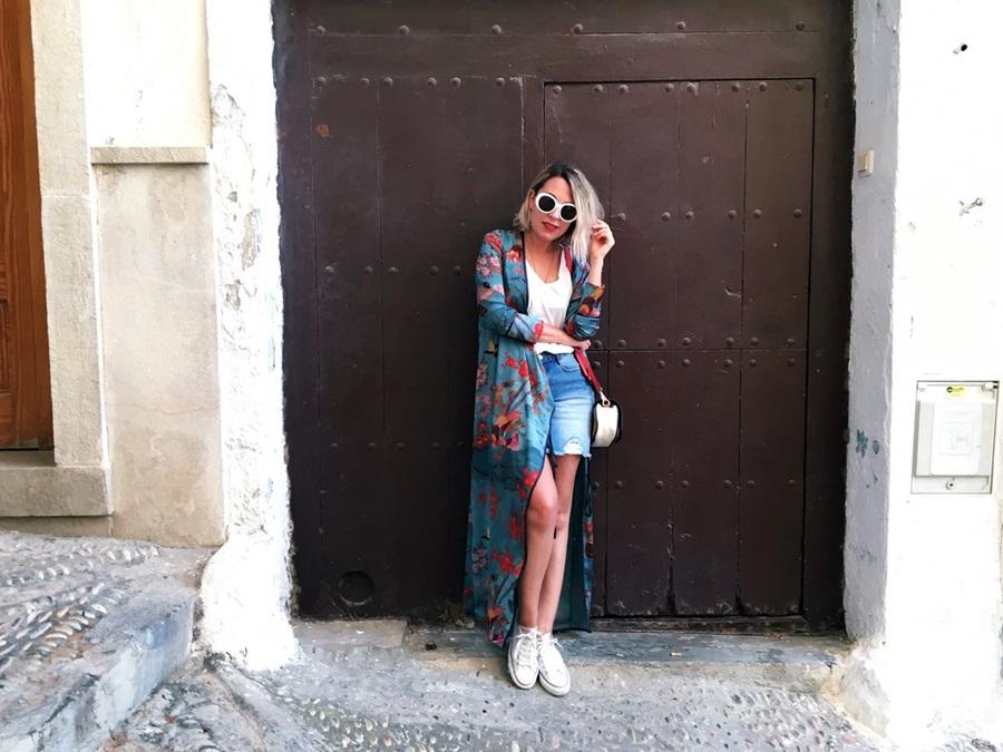 blue Kimono Zara and Converse littledreamsbyr Peñiscola