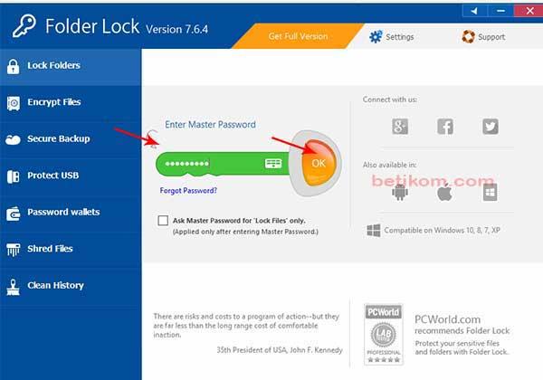 Mengunci file/folder menggunakan folder lock