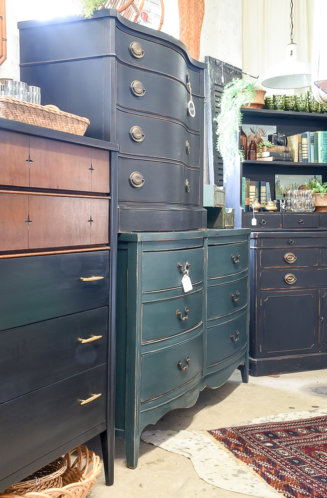 Vintage black, green and wood furniture