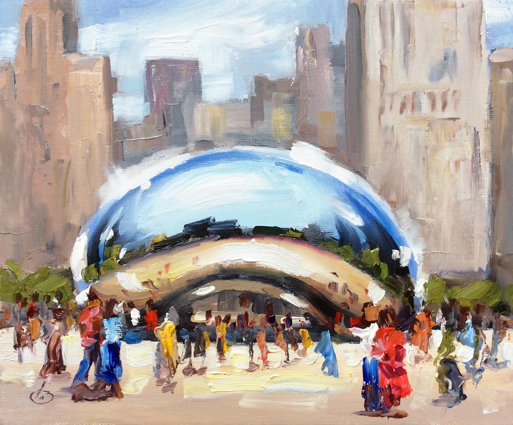 Tom brown fine art chicago cloud gate landmark sculpture for Chicago mural artist