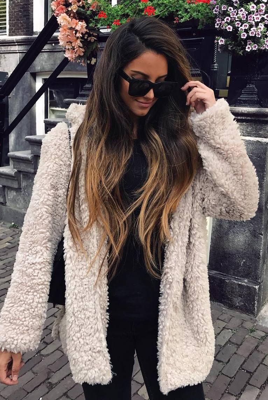 fall outfit _ white fur jacket + bag + black top + pants