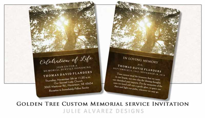 golden tree nostaglia custom memorial service invitation front and back
