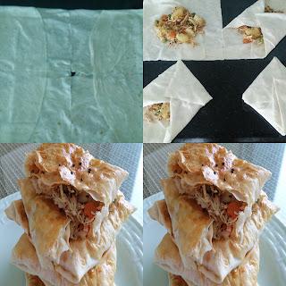 tavuklu bohça böreği yapılışı