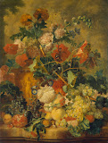 Flowers and Fruit by Jan van Huysum - Fruits paintings from Hermitage Museum
