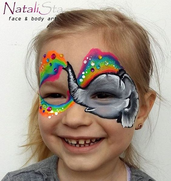 maquillage enfant éléphant arc-en-ciel brillants