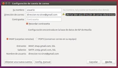 Configuración de cuenta de correo