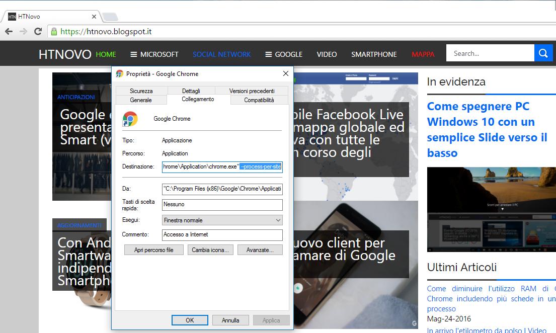 Diminuire utilizzo RAM Google Chrome