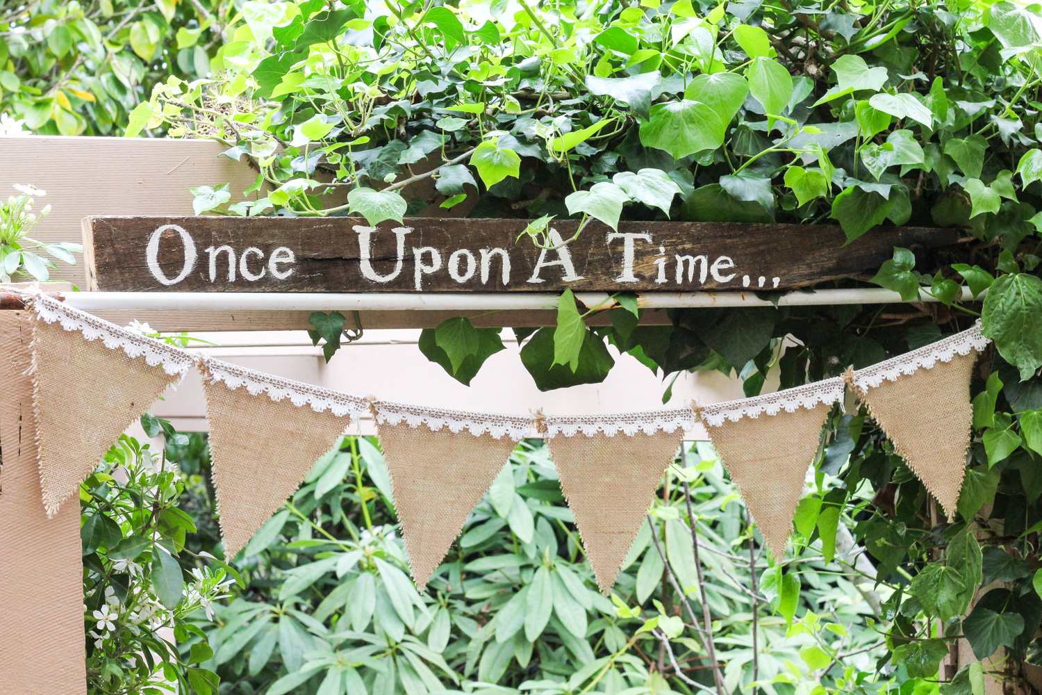 Once Upon A Time wooden sign with hessian and lace bunting