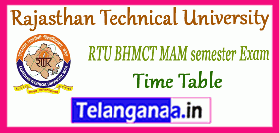 RTU Rajasthan Technical University BHMCT MAM 1st 3rd 5th 7th Semester Time Table