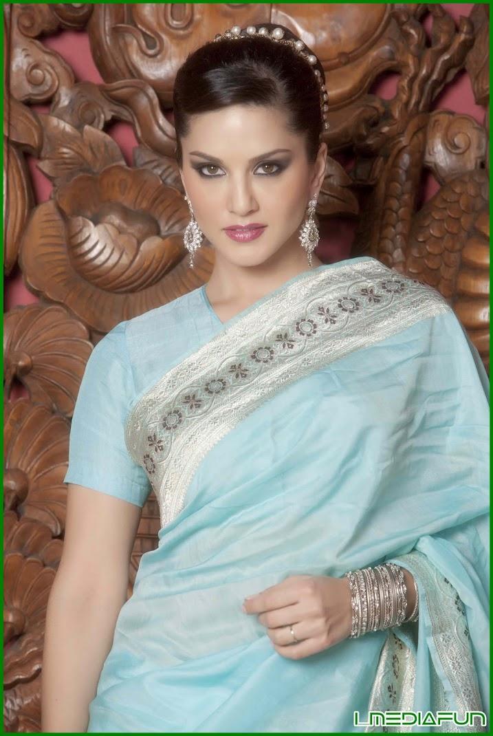 Sunny Leone July 2012 In Blue Sexy Saree Photoshoot Poses -5353
