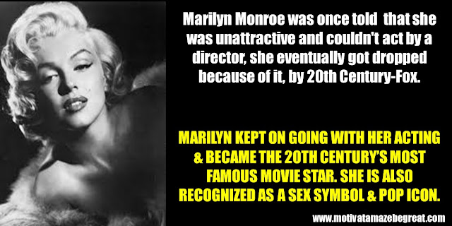 63 Successful People Who Failed: Marilyn Monroe, Success Story, Famous movie star, sex symbol, pop icon, unattractive, couldn't act, dropped, 20th Century-Fox
