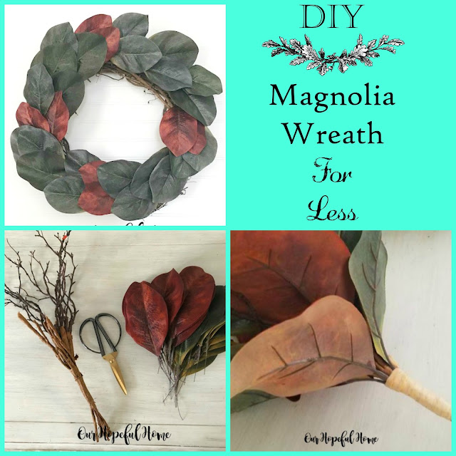 magnolia wreath leaves bouquet collage