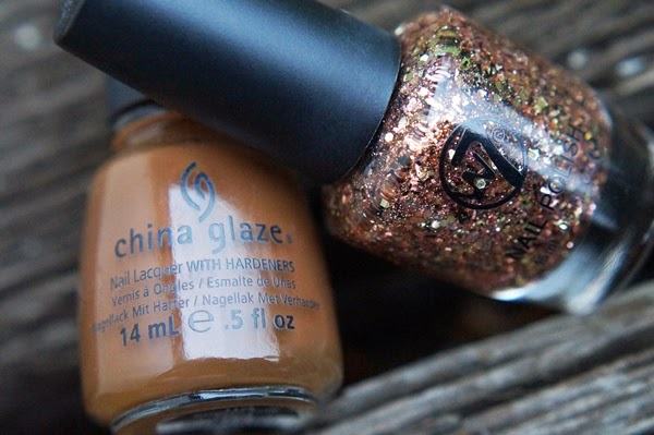 NOTD China Glaze Mahogany Magic, W7 Bronze Debris