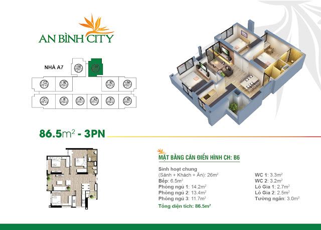 Mặt bằng căn hộ B6 An Bình City