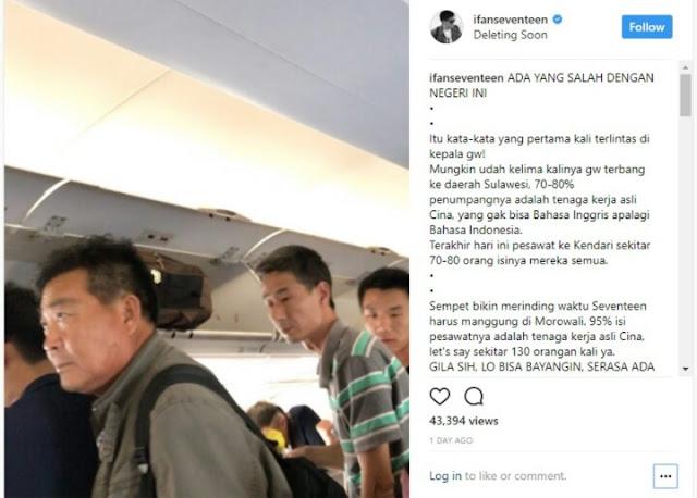 Viral Video Vokalis Band Seventeen Tercengang Saksikan Banyaknya TKA Cina di Pesawat