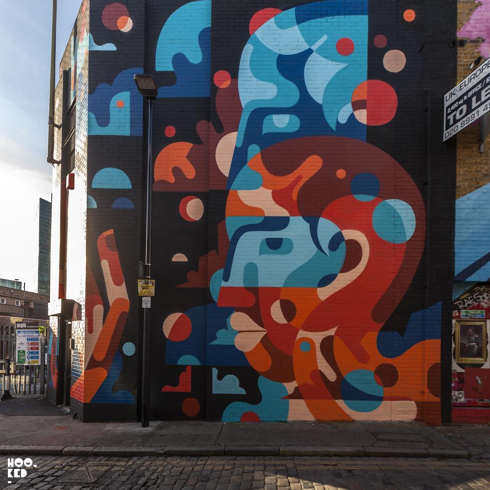 Union Jack Mural on London's Chance Street by artist James Reka