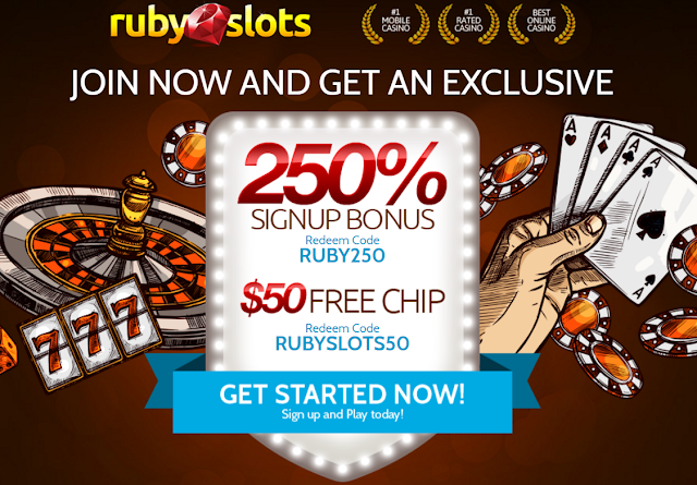 Ruby Slots Casino $50 FREE and 250% Signup Bonus