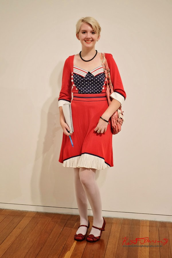Vintage style Victory dress, red white and blue, American colours - Street Fashion Sydney by Kent Johnson.