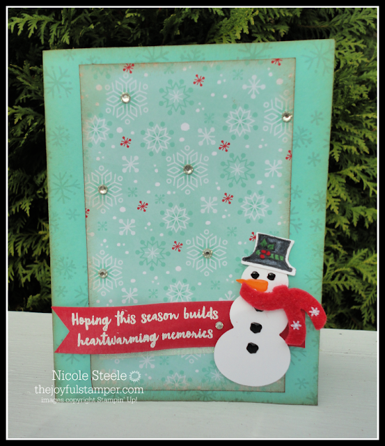 Simple Christmas card using Snowman Season, Snowman Builder Punch, and Let It Snow Embellishment Kit